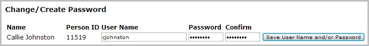Change/Create Password