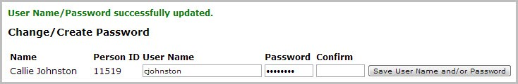 User Name/Password successfully updated